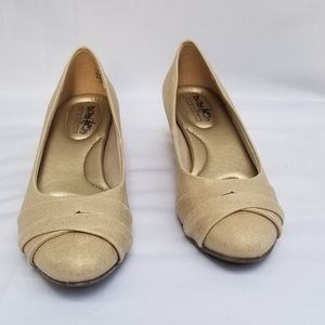 Coach- Gold Metallic wedge shoes